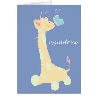 Félicitations (girafe/papillon de bébé) carte de vœux