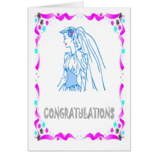Félicitations, jeune mariée carte de vœux