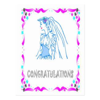 Félicitations - jeune mariée carte postale