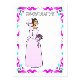 Félicitations - jeune mariée dans le rose cartes postales