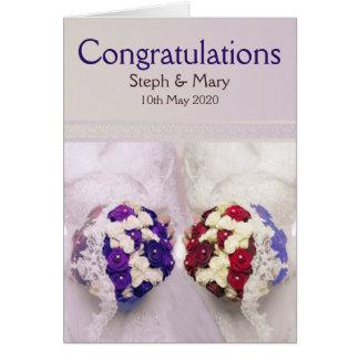 Félicitations lesbiennes de mariage de jeunes carte de vœux
