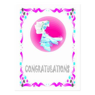 Félicitations - mains carte postale