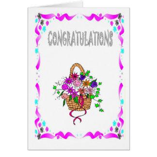 Félicitations, panier des fleurs carte de vœux