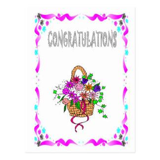 Félicitations - panier des fleurs cartes postales