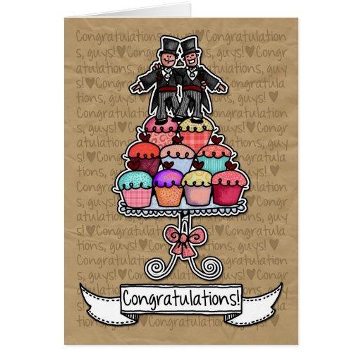 Félicitations - petits gâteaux gais de couples de  carte de vœux