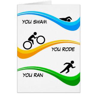 Félicitations pour finir un triathlon ! carte de vœux