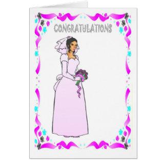 Félicitations, rose de jeune mariée carte de vœux