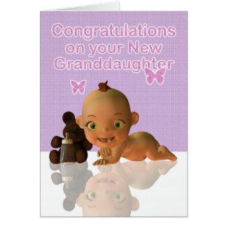 Félicitations un beau bébé Granddaughte Carte De Vœux