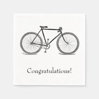 Félicitations vintages de bicyclette serviettes en papier