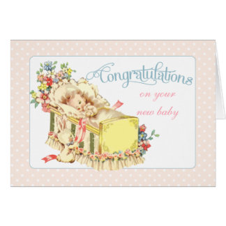 Félicitations vintages pour le nouveau bébé carte de vœux