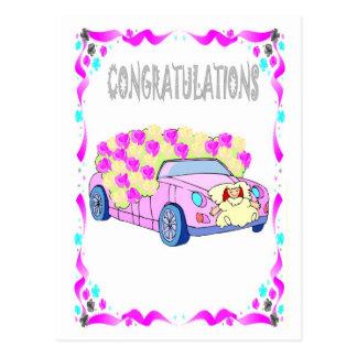 Félicitations - voiture de mariage cartes postales