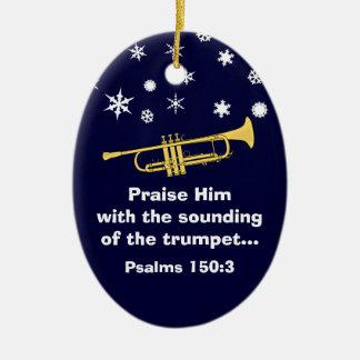 Félicitez-le avec la trompette biblique à Noël Ornement Ovale En Céramique