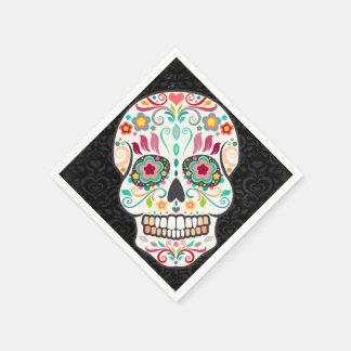 Feliz Muertos - serviettes de papier de crâne de Serviette Jetable