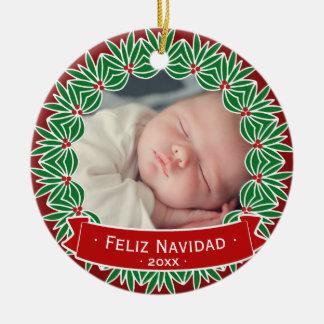 Feliz Navidad votre propre photo personnalisée de Ornement Rond En Céramique