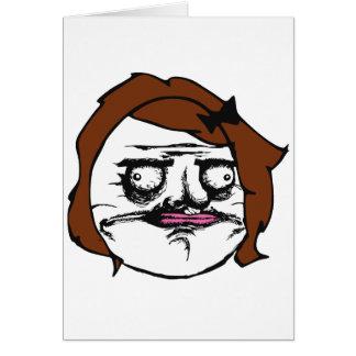 Femelle de Brown je visage comique Meme de rage de Cartes De Vœux