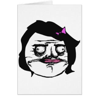 Femelle noire je visage comique Meme de rage de Gu Cartes De Vœux
