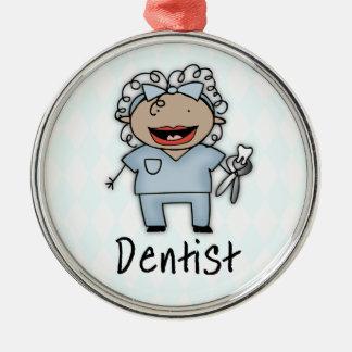 Femelle professionnelle de dentiste de profession ornement rond argenté