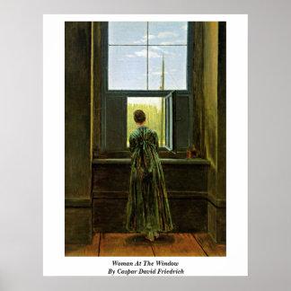 Femme à la fenêtre par Caspar David Friedrich Posters