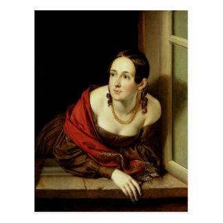 Femme à sa fenêtre ou, l'épouse d'a carte postale
