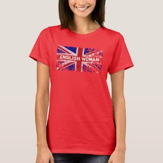 Femme anglaise + Drapeau d'Union Jack de peinture T-shirt