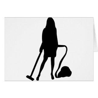 femme au foyer - aspirateur - nettoyage carte de vœux