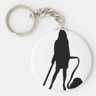 femme au foyer - aspirateur - nettoyage porte-clé rond