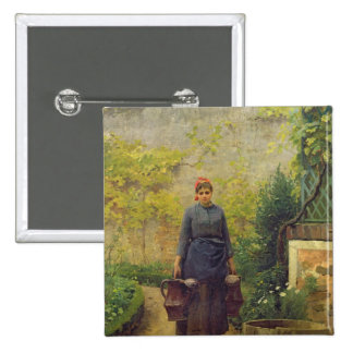 Femme avec des arrosoirs badge carré 5 cm