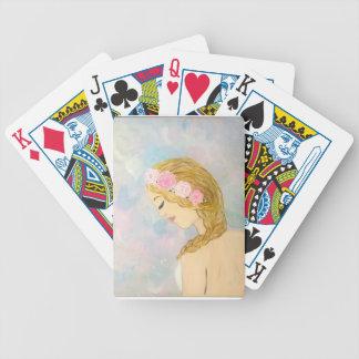 Femme avec des fleurs dans ses cheveux jeu de cartes