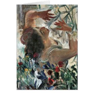 Femme avec des lis en serre chaude - Lovis Carte De Vœux