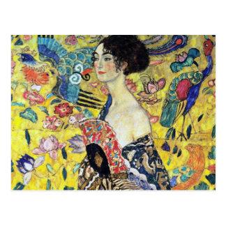 Femme avec la fan par Gustav Klimt Carte Postale
