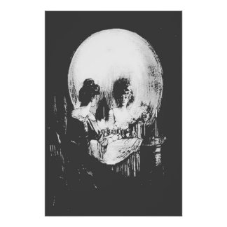 Femme avec la réflexion de crâne de Halloween dans Poster