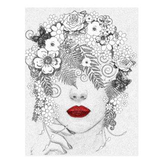 Femme avec les lèvres rouges carte postale