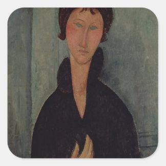 Femme avec les yeux bleus, c.1918 autocollants carrés