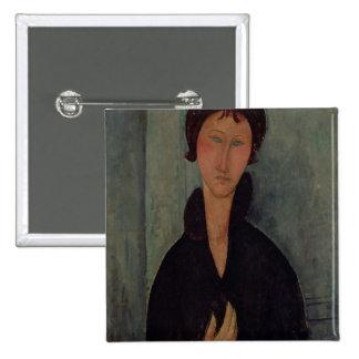 Femme avec les yeux bleus, c.1918 badge carré 5 cm