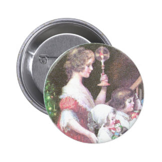 Femme avec Noël de cru de bougie de Haloed Badge Avec Épingle