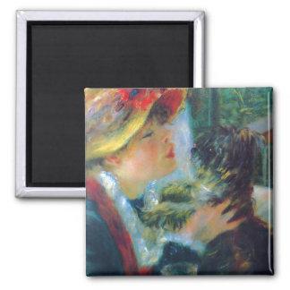Femme avec ses beaux-arts de Renoir de chien Magnet Carré