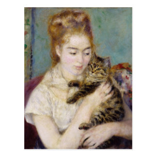 Femme avec un chat, c.1875 (huile sur la toile) 2 carte postale