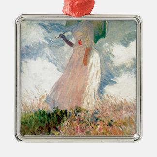 Femme avec un parasol - Claude Monet Ornement Carré Argenté