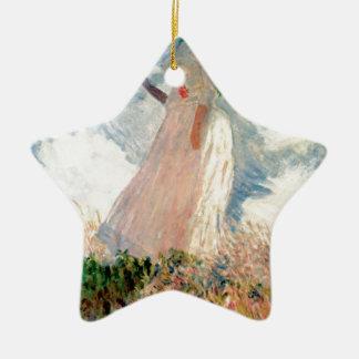 Femme avec un parasol - Claude Monet Ornement Étoile En Céramique