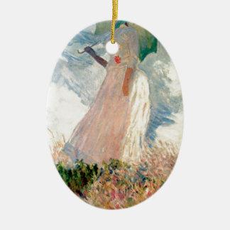 Femme avec un parasol - Claude Monet Ornement Ovale En Céramique