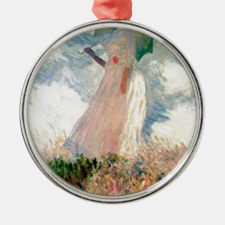 Femme avec un parasol - Claude Monet Ornement Rond Argenté