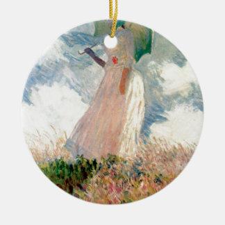 Femme avec un parasol - Claude Monet Ornement Rond En Céramique