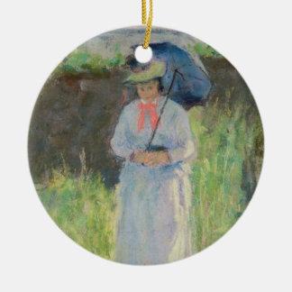 Femme avec un parasol (en pastel sur le papier) ornement rond en céramique