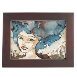 Femme bleue boîtes à souvenirs