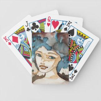 Femme bleue cartes à jouer