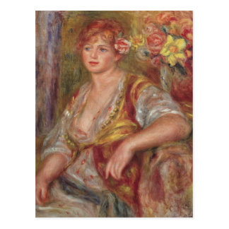 Femme blonde avec un rose, c.1915 carte postale
