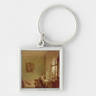 Femme brodant, 1812 porte-clé carré argenté