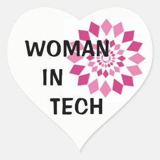 Femme dans l'autocollant de coeur de technologie sticker cœur