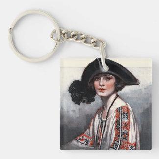 Femme dans le chemisier brodé porte-clé carré en acrylique double face