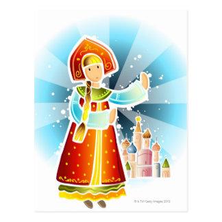 Femme dans le costume russe traditionnel cartes postales